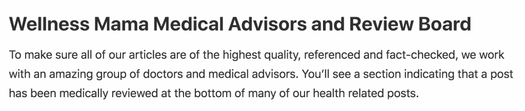 Wellness mama advisors and review board