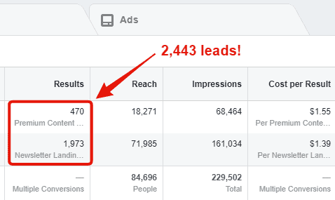 facebook ads total email subscribers