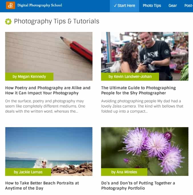 Digital Photography School website guides