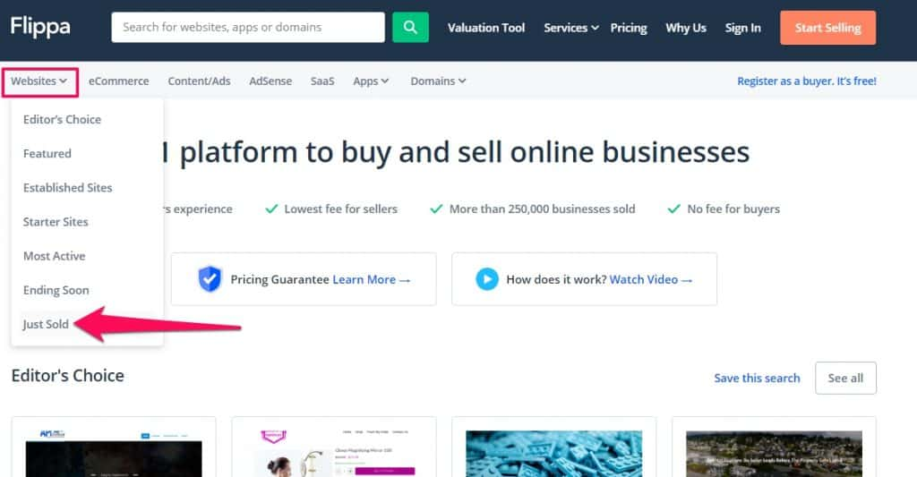 Flipa selling your websites