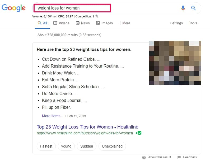 search results in google