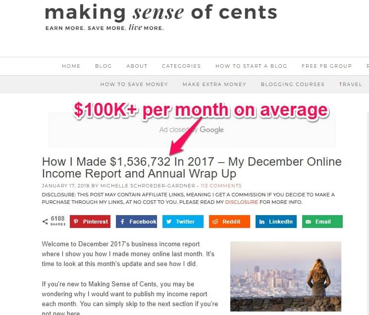 more then 100k a month of income