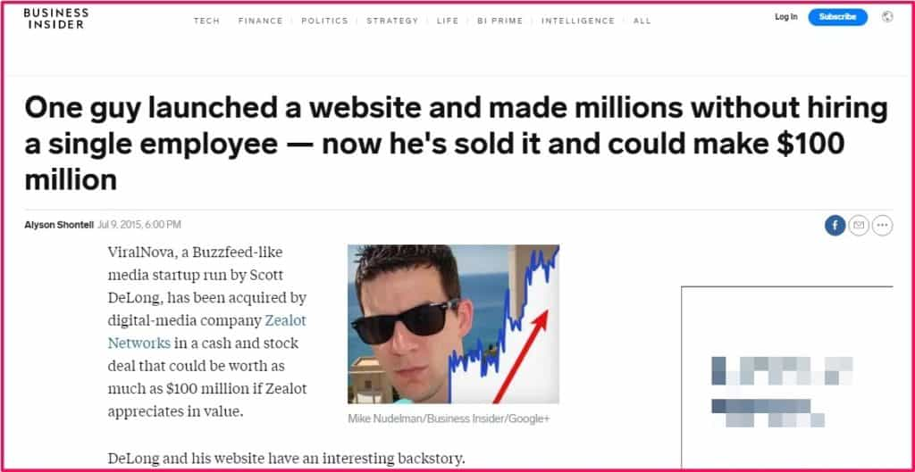Viral news site sold for 100$ million
