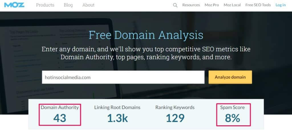 using moz domain authority to see rankings