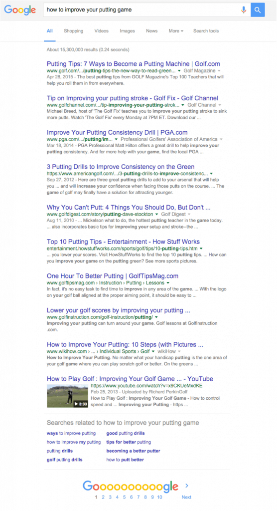 google search results